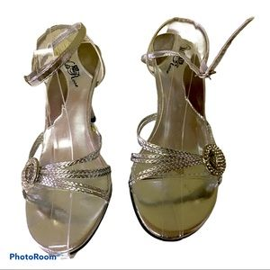 Wild Rose Silver Ankle  Strap Heels
